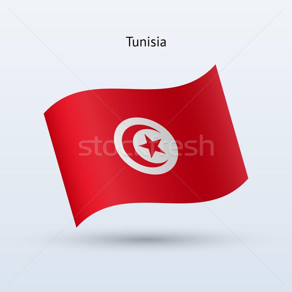 Tunus bayrak form gri imzalamak Stok fotoğraf © tkacchuk