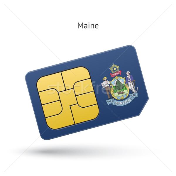 State of Maine phone sim card with flag. Stock photo © tkacchuk