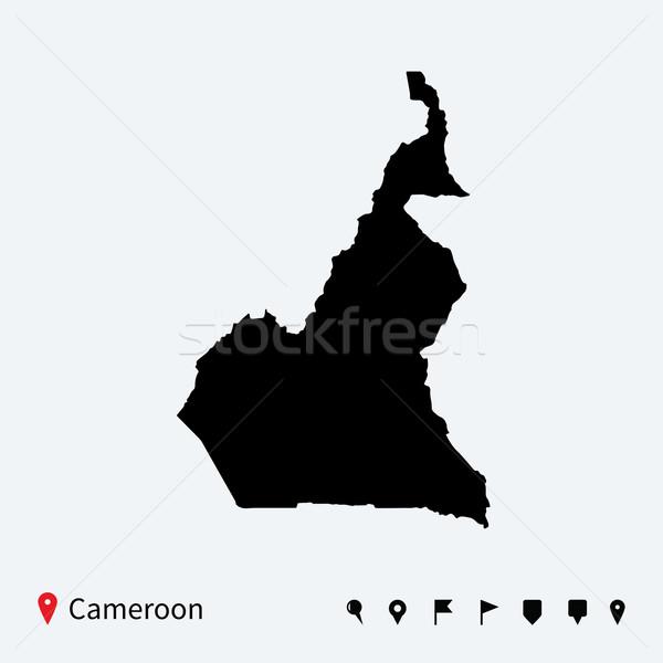 Wysoki szczegółowy wektora Pokaż Kamerun nawigacja Zdjęcia stock © tkacchuk