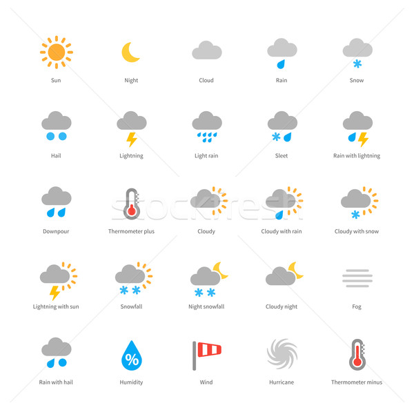 Weather colored icons on white background. Stock photo © tkacchuk