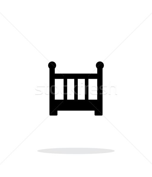 Crib simple icon on white background. Stock photo © tkacchuk