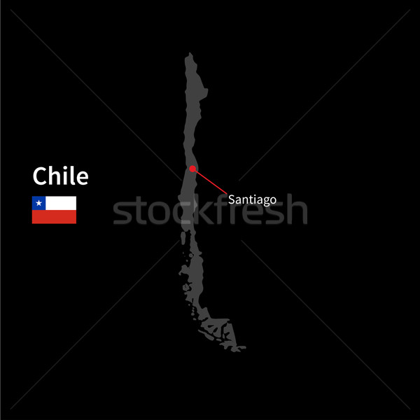 Detailed map of Chile and capital city Santiago with flag on black background Stock photo © tkacchuk