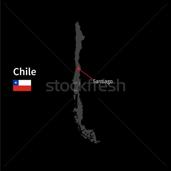 Detallado mapa Chile ciudad Santiago bandera Foto stock © tkacchuk
