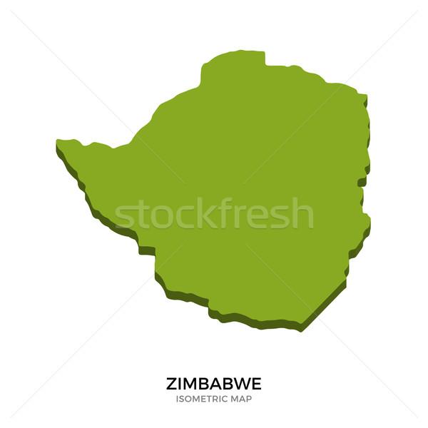 アイソメトリック 地図 ジンバブエ 詳しい 孤立した 3D ストックフォト © tkacchuk