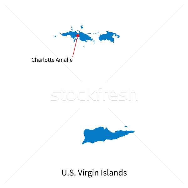 Vector map of U.S. Virgin Islands and capital city Stock photo © tkacchuk