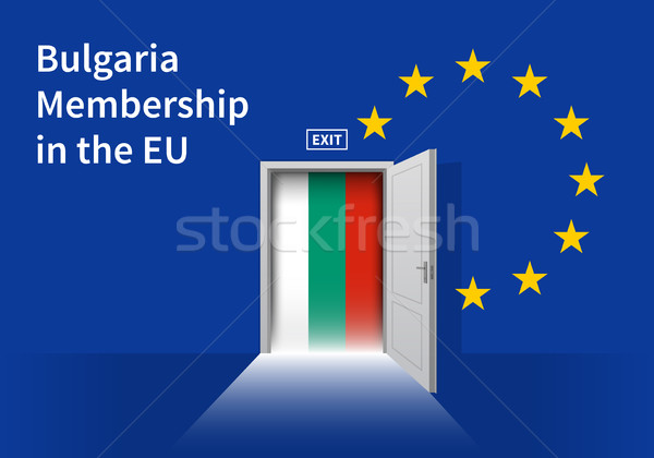 European Union flag wall with Bulgaria flag door. EU Flag. Stock photo © tkacchuk