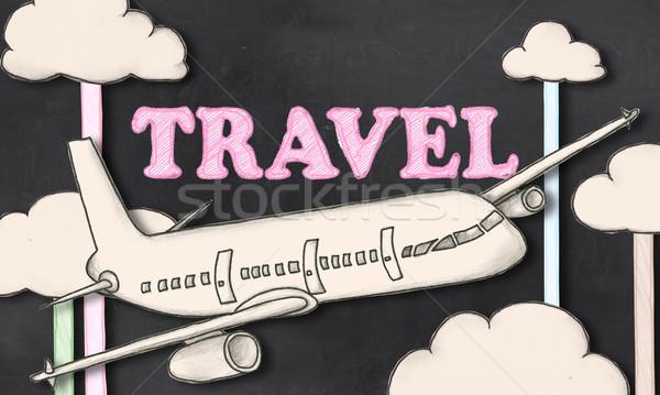 Utazás iskolatábla kivágás illusztráció felhő rajz Stock fotó © TLFurrer