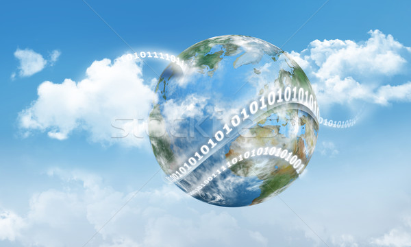 Cloud Computing Earth and Digits Stock photo © TLFurrer
