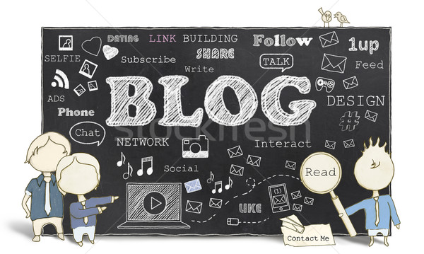 Social media blogging słowa tablicy kontakt mężczyzn Zdjęcia stock © TLFurrer