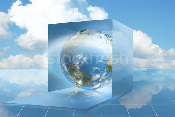 Cloud computing world in a dropbox Stock photo © TLFurrer