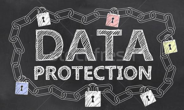 большой данные безопасности мелом доске бизнеса Сток-фото © TLFurrer