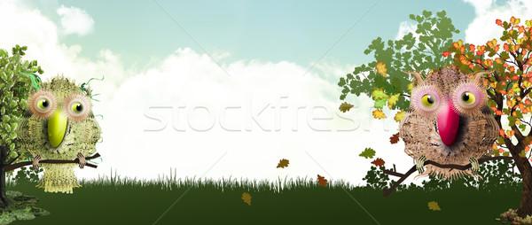 Sweet лес баннер птиц осень дерево Сток-фото © TLFurrer