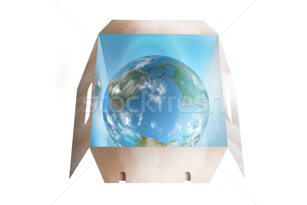 Cloudy world in a drop box Stock photo © TLFurrer