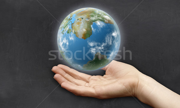 手 地球 クリーン 黒板 書く ストックフォト © TLFurrer