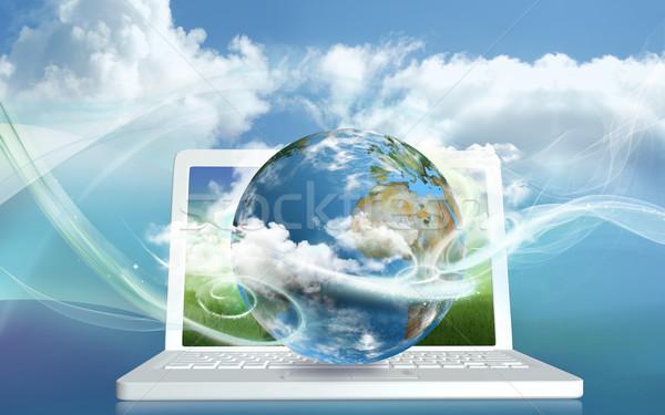 エネルギー ノートパソコン 世界中 抽象的な 技術 ストックフォト © TLFurrer