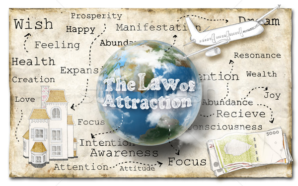 Stock photo: Law of Attraction on Paper