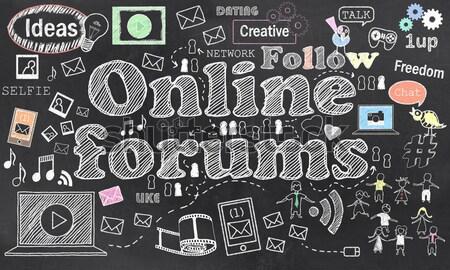 ソーシャルメディア 黒板 チョーク コンピュータ ネットワーク ストックフォト © TLFurrer