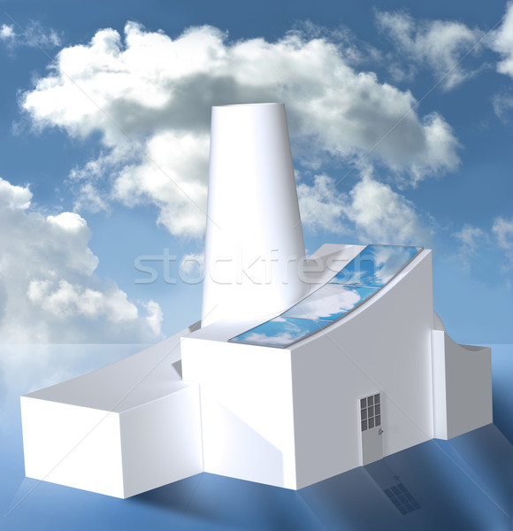 Factory with solar panels in cloudy weather Stock photo © TLFurrer