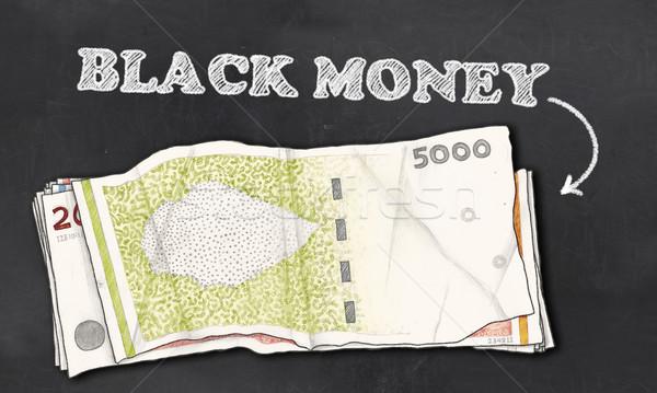 черный деньги доске бумаги мелом Финансы Сток-фото © TLFurrer