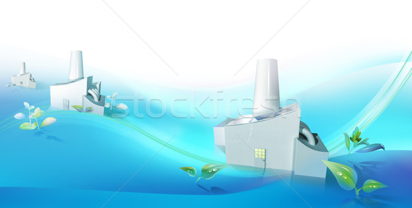 Green tech clusters in blue Stock photo © TLFurrer