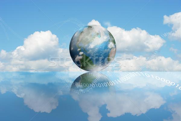 ストックフォト: 技術 · 曇った · 地球 · 桁 · 空