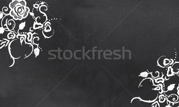 ストックフォト: 空っぽ · 黒板 · ヴィンテージ · フローラル · パターン · 図面