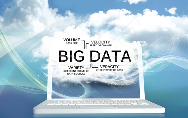 Big Data The V's on a Laptop with Clouds Stock photo © TLFurrer