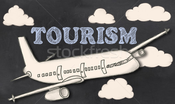 Turizmus iskolatábla kréta kivágás illusztráció utazás Stock fotó © TLFurrer