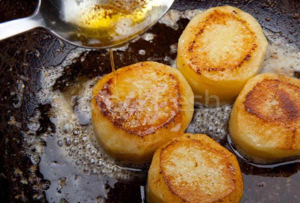 Photo stock: De · pomme · de · terre · sauce · pan · beurre · alimentaire · cuillère