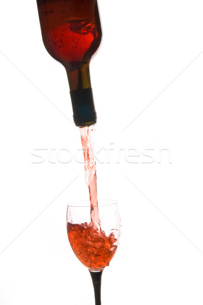 Vin rouge Splash verre de vin bouteille alcool Photo stock © tlorna
