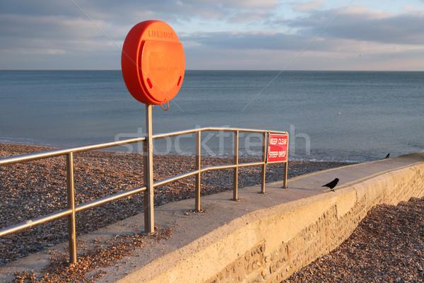lifebuoy beach groyne warning Stock photo © tlorna