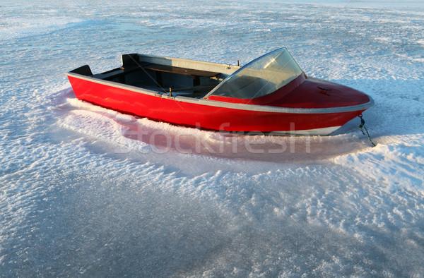 Bateau hiver gel glace congelés lac Photo stock © tlorna