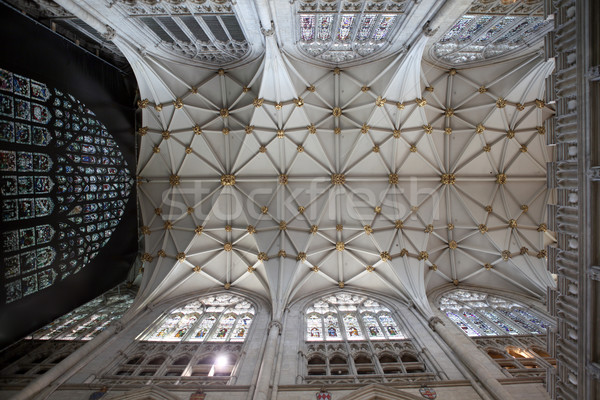 churh in england interior, york minster ornate ceiling Stock photo © tlorna