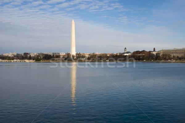 Washington Anıtı yansıma Washington DC gökyüzü çim Bina Stok fotoğraf © tmainiero