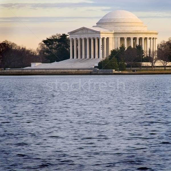 Coucher du soleil Washington DC eau nuages bâtiment bleu Photo stock © tmainiero