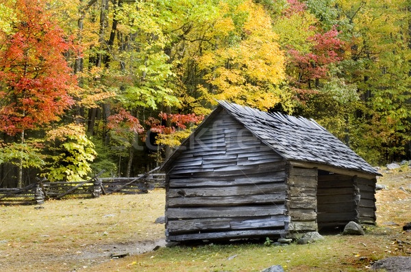 Log Cabin Smoky Mountains Stock photo © tmainiero