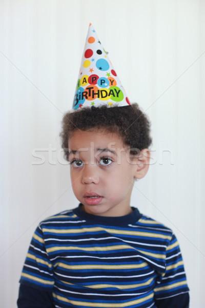 少年 歳の誕生日 帽子 混血 紙 ストックフォト © tobkatrina