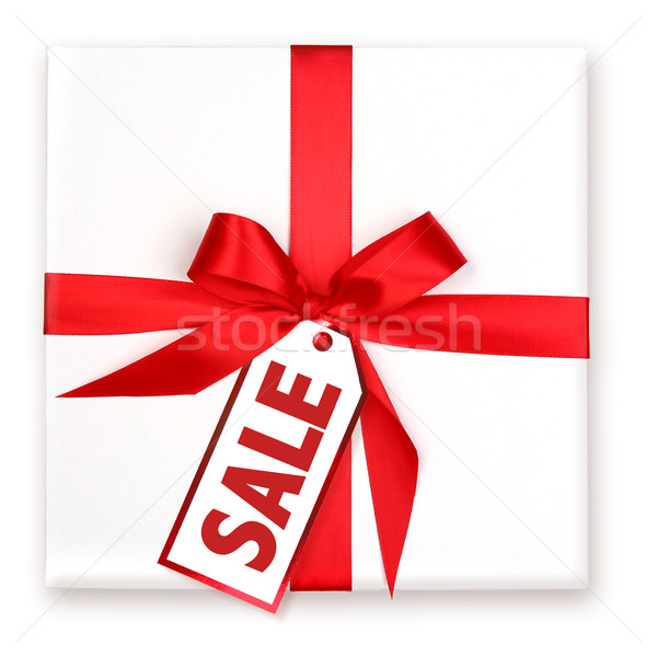 Pretty Wrapped Holiday Gift With Decorated SALE Tag Stock photo © tobkatrina