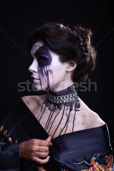 Gothic Expressive Girl on Plain Background Stock photo © tobkatrina