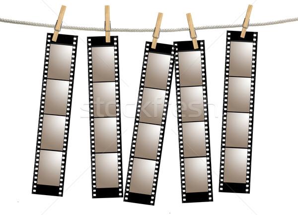 Eski film negatif 35mm film şeridi asılı Stok fotoğraf © tobkatrina