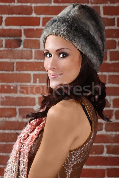 美人 レンガ 魅力のある女性 少女 顔 女性 ストックフォト © tobkatrina