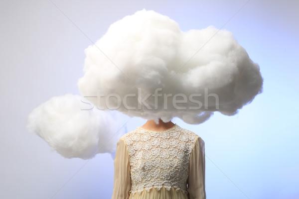 少女 頭 雲 穏やかな 雲 ストックフォト © tobkatrina