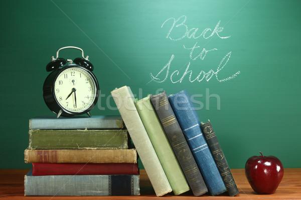 学校 図書 リンゴ クロック デスク ストックフォト © tobkatrina