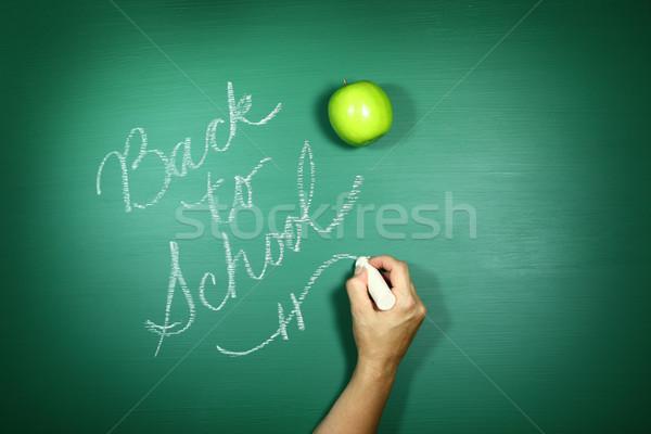 Zdjęcia stock: Powrót · do · szkoły · napisany · Tablica · wiadomość · drewna · książek