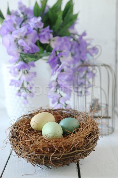 Pasen vakantie stilleven scène natuurlijk licht voorjaar Stockfoto © tobkatrina