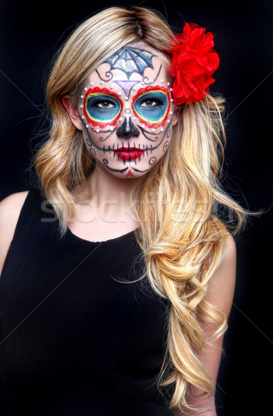 Beautiful Blonde Woman With Painted Sugar Skull Art Stock photo © tobkatrina