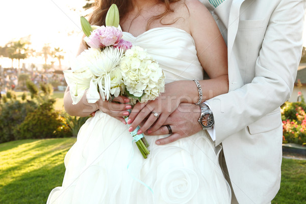 Pretty Bride on Her Wedding Day Outdoors Stock photo © tobkatrina
