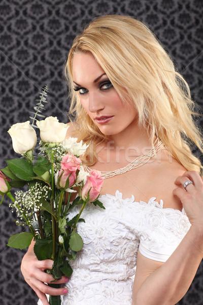 ストックフォト: 肖像 · 小さな · 花嫁 · 結婚 · ブライダル · 若い女性