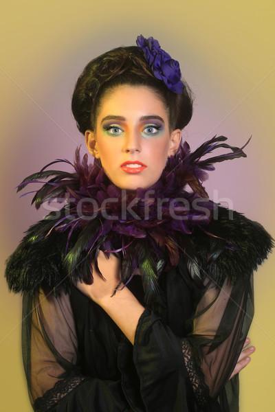 Kız high fashion makyaj güzel kız moda Stok fotoğraf © tobkatrina