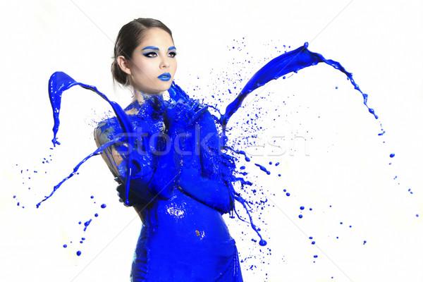 à grande vitesse photographie femme liquide peinture belle femme Photo stock © tobkatrina